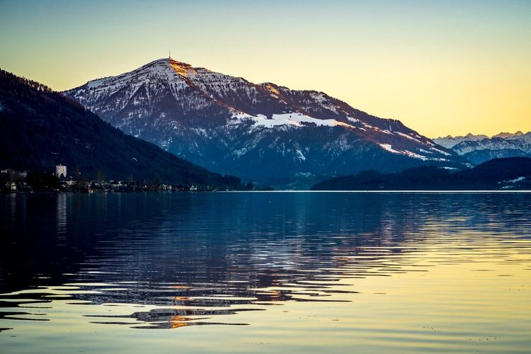 Sleeping Giant Lake Zug Rigi Zugersee Schweiz Switzerland Mountain Water Sky Beauty In Nature Scenics - Nature Lake Tranquility Tranquil Scene Reflection Mountain Range Winter Nature Cold Temperature Snow Waterfront No People Non-urban Scene Clear Sky Outdoors Snowcapped Mountain