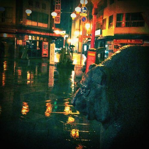 rainy night at chinatown Rain Night Lights