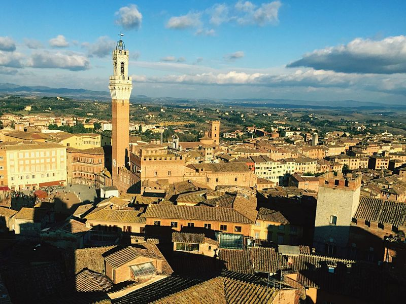 Aerial Shot Piazza Del Campo. Siena Torre Del Mangia Palio