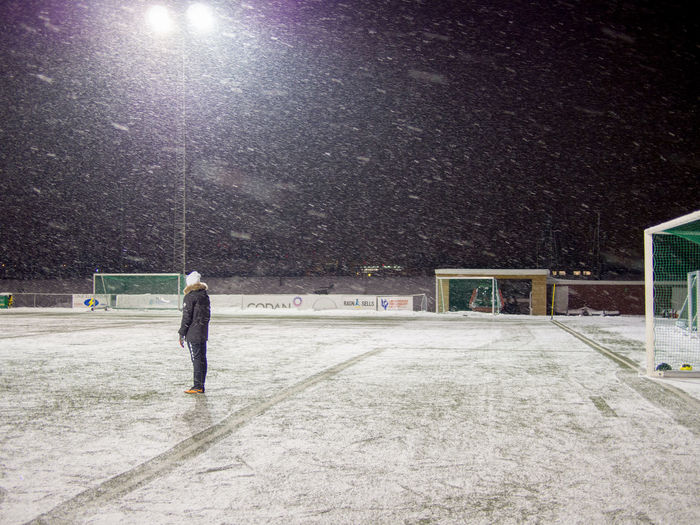 Playing fotball in minus 15 and windy snow. Cold Fotball Fotball Fotball Field Fotball Snowstorm Illuminated Leisure Activity Lifestyles Outdoors S Snowfotball Winter