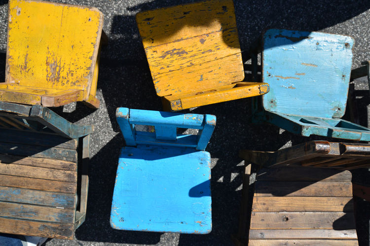 Bench Blue Chairs Close-up Container Day High Angle View Metal Multi Colored Nature No People Old Outdoors Rusty Seat Sunlight Table Transportation Wood Wood - Material Yellow Yellow Chair