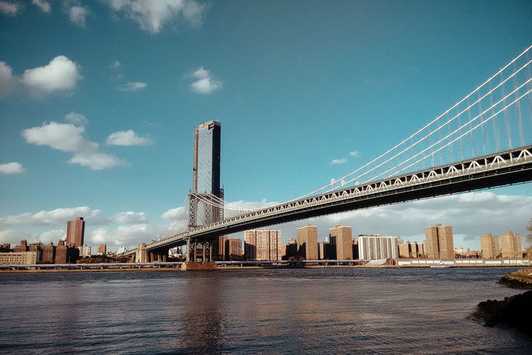 View of suspension bridge and buildings against sky