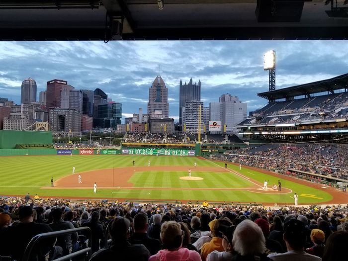 Cloud - Sky Stadium Urban Skyline Sky Architecture Crowd Sport People Large Group Of People Outdoors Day City Fan - Enthusiast Pittsburgh Pirates PNC Park Pittsburgh Pennsylvania Sports Team Match - Sport Sports Event  Skyscraper Sports Venue Cityscape Travel Destinations Baseball - Sport The Graphic City Stories From The City