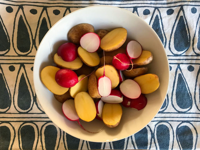High angle view of candies in plate