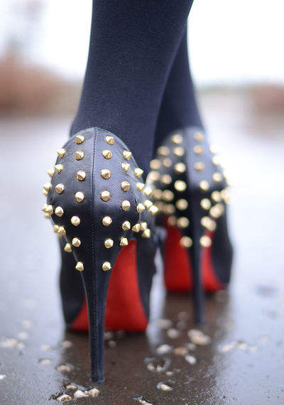 Spotted Low Section Close-up Human Body Part Polka Dot One Person Human Leg Body Part Selective Focus Day Focus On Foreground Standing Shoe Fashion Adult Indoors  High Heels Human Limb Louboutin Stiletto