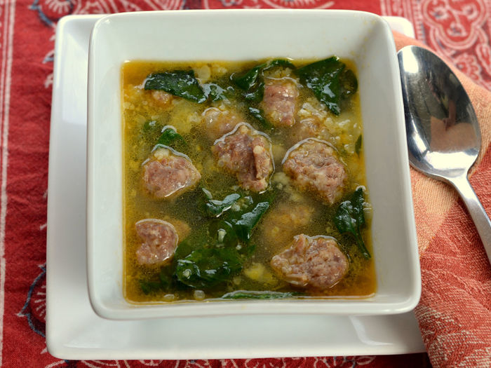 Italian Wedding Soup: Ketogenic, Low Carb Meal made with Italian Sausage meatballs, spinach, cauliflower and broth Brother Comfort Food Cuisine Diet Dinner Keto Lunch Meal Meatball Soup Rustic Cauliflower Cauliflower Rice Close-up Healthy Eating Italian Ketogenic Low Carb Diet Low Carbohydrate Portion Sausage Serving-size Spinach Supper Traditional Wedding Soup