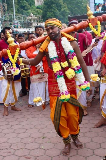 Penance Endurance Faith God Of War Hinduism Devotion Batu Caves -Malaysia Lord Murugan Cultures Traditional Clothing Dancing Tradition Celebration Traditional Festival Large Group Of People