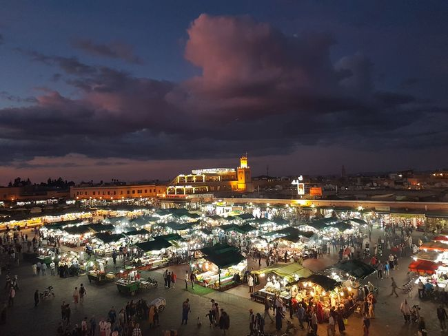 Sunset Travel Destinations Night Cityscape Sky Outdoors Vacations City People Jemma El-fnaa Marrakesh Morocco Jemaa El Fnaa Jemaa El-Fnaa Night