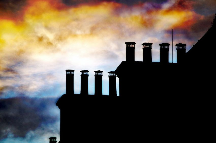 Silhouette Cloud - Sky Night Sky Outdoors Beauty In Nature Chimney Pots Sunset Silhouettes No People