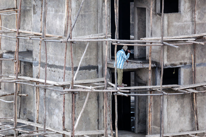 Addis Ababa Ethiopia Safety First! Architecture Building Construction Site Ladder Occupation One Person Real People Safe Work Working The Photojournalist - 2018 EyeEm Awards