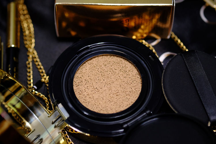 cosmetics gold set for background. (Selective focus) Background, Beautiful, Beauty, Black, Brush, Brushes, Close, Collage, Color, Colorful, Compact, Cosmetic, Cosmetics, Facial, Fashion, Female, Kit, Make, Make-up, Makeup, Palette, Profession, Professional, Set, Shadow, Shadows, Skin, Up, White, Woman, Bb C