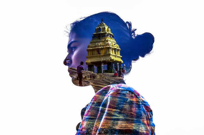 Bangalore Colourful Double Exposure Gopuram India Woman Clear Sky Day Godess Human Representation Idol Lalbhag Low Angle View One Person People Religion Sculpture Spirituality Statue Studio Shot White Background Moving Around Rome California Dreamin