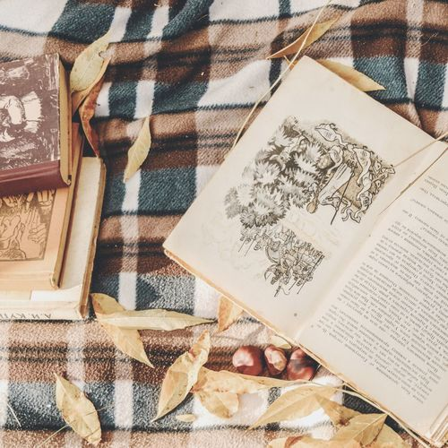 Осенняя пора Book Outomn Осень 🍁🍂 плед листья желтые EyeEm Selects Text Close-up Written Capital Letter I Love You Note Literature Page Bookstore Knowledge