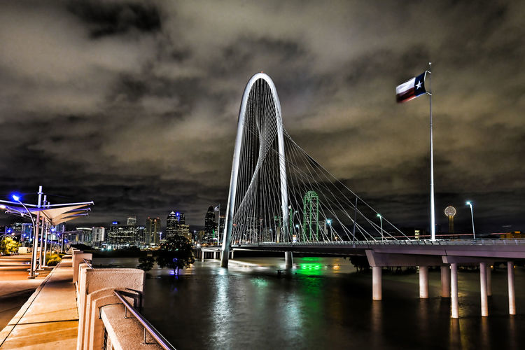 Night shot of signature bridge in Dallas, Tx Architecture Bridge - Man Made Structure City Cityscape Dallas Tx Night No People Outdoors Sky Tourism Travel Travel Destinations Water