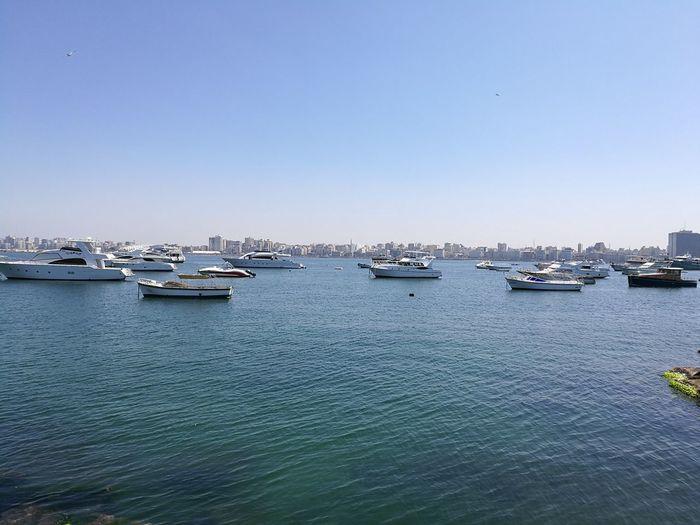 First Eyeem Photo The Great Outdoors - 2017 EyeEm Award Egypt Alexandria Alexandria Egypt Sea Mediterranean Sea Yachts Yachts At Anchor Cityscape Sky Clear Sky Boats⛵️ Sunny Day No Filter The Great Outdoors - 2018 EyeEm Awards