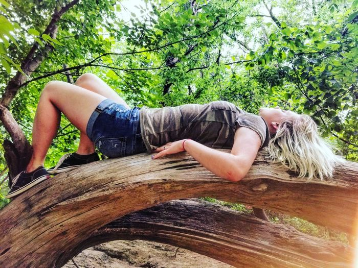 Young woman lying on wood against tree
