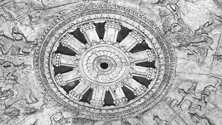 Bnw_friday_eyeemchallenge Circles Challenge Circle Circles Circles In Circles Dharmachakra Wheel Of Life Wheel Of Dhamma Bhuddhism Thailand EyeEm Best Shots Wat Thammongkol Black And White Black And White Photography Black And White Collection