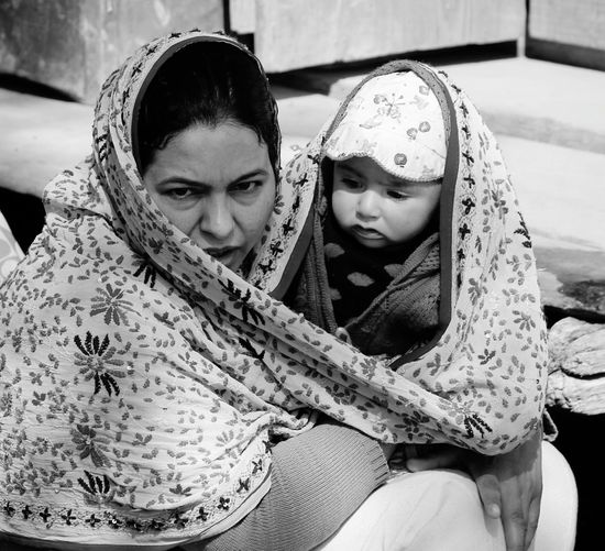 Portrait Of Mother With Baby Wrapped In Dupatta