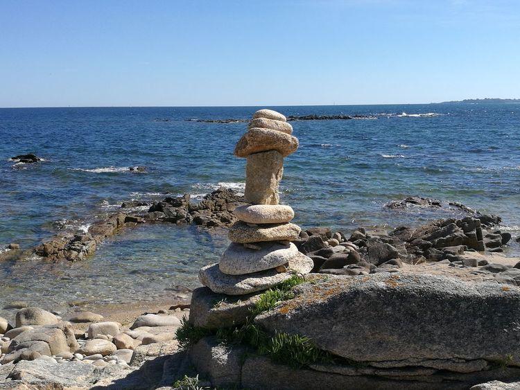 Atlantic Ocean Montjoie Cairn Sea Sky Stones Graves Bretagne France Summer ☀ Landscape Nature Carte Postale No People Miles Away