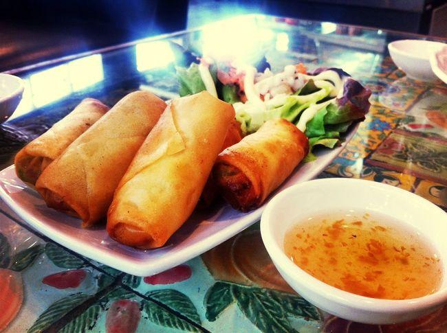 Thai Food Spring Rolls Enjoy Eating Lunch Time!