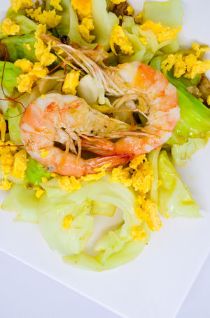 Fried Egg Shrimp Thai Cuisine Cabbage Close-up Day Food Food And Drink Freshness Healthy Eating Indoors  No People Plate Ready-to-eat Seafood