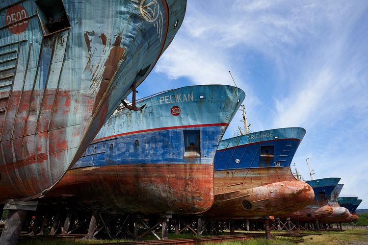 Boat Parking... Ship Water Outdoors Old Obsolete Decline Deterioration No People Cloud - Sky Nautical Vessel Sky Transportation Moored Air Vehicle Abandoned Mode Of Transportation Nature Day Land Run-down Scenics Perspective Boat Colors Landscape