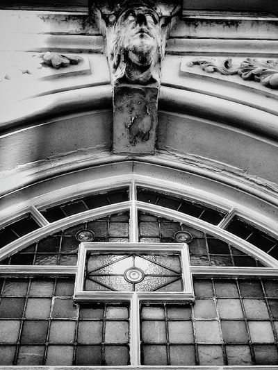 Window Tinted Glass Coving Glass Stone Carving Stained Waterdamaged Aged Cracked Frame Feature Manchester