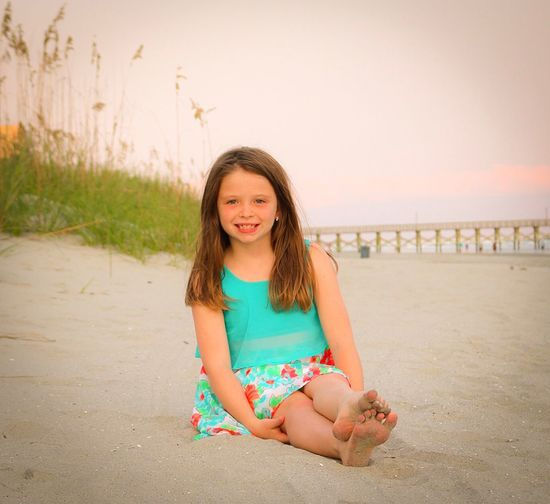 Beach Sand Girls Sea One Girl Only Sitting Child Summer Full Length Childhood Outdoors One Person Sky Children Only Vacations Nature Horizon Over Water Day Portrait Water