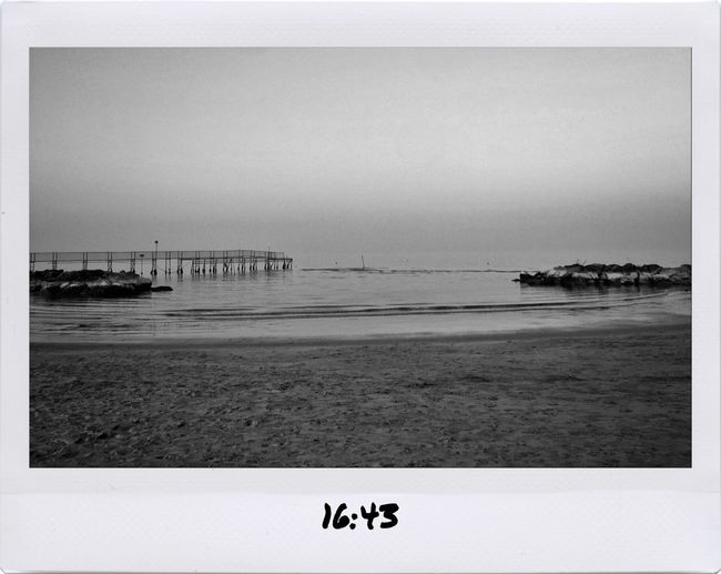 Rimini Sea Beach Outdoors No People Water Nature Horizon Over Water Sky Blackandwhite Adapted To The City B&w Mula