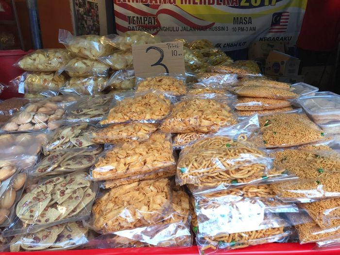 Kuih muih raya Aidilfitri Raya Tid Bits For Sale Food Food And Drink Large Group Of Objects Freshness Market Abundance Retail  Arrangement Still Life Variation High Angle View Choice No People Market Stall Sweet Food Indoors  Order Business Stack