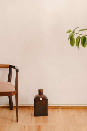 Potted plant on hardwood floor against wall at home