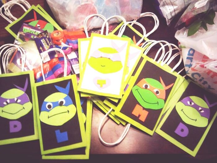 Making Ninja Turtle Goodie Bags..