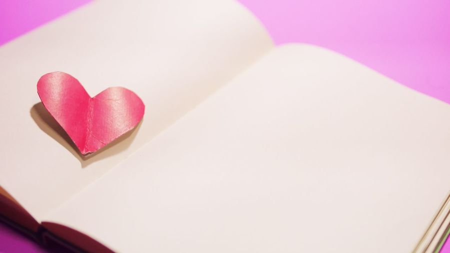 High angle view of heart shape over white background