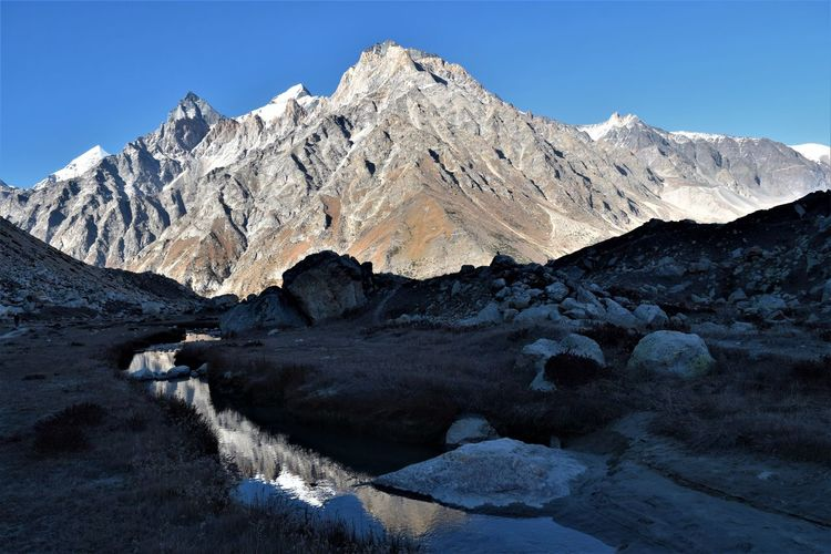 Himalayan peaks thelu, matri, sudarshan from tapovan, uttarakhand, india