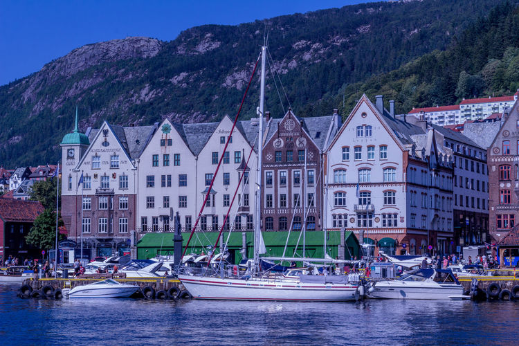 Bergen Norway Transportation Architecture Built Structure Building Exterior Mountain Water Mode Of Transportation Nautical Vessel Building Nature Waterfront Residential District Outdoors Sailboat Travel Day Group Of People