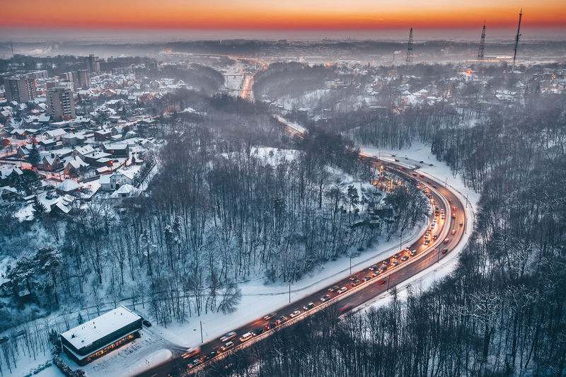 Traffic Lithuania Lietuva Europe Winter DJI X Eyeem Dji Mavic 2 Pro Mavic 2 Mavic 2 Pro Drone  Aerial Aerial View Kaunas Traffic Rush Hour City Architecture Built Structure Cityscape Transportation Nature High Angle View Building Exterior Road No People Cold Temperature Sky Snow Mode Of Transportation Outdoors Motion Sunset