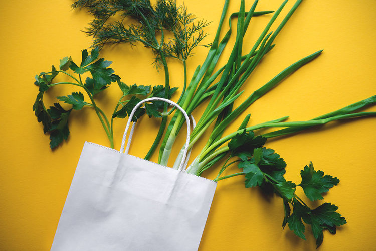 Close-up of herbs in paper bag over yellow background