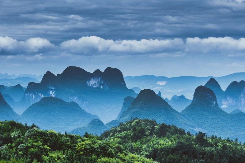 Panoramic shot of mountain range against sky