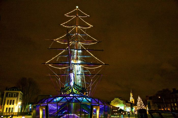 Architecture Celebration Christmas Christmas Decoration City Cutty Sark Greenwich.  Cutty Sark,rigging, Fame Illuminated Night No People Outdoors