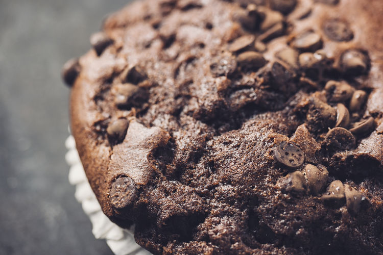 High angle view of chocolate muffin