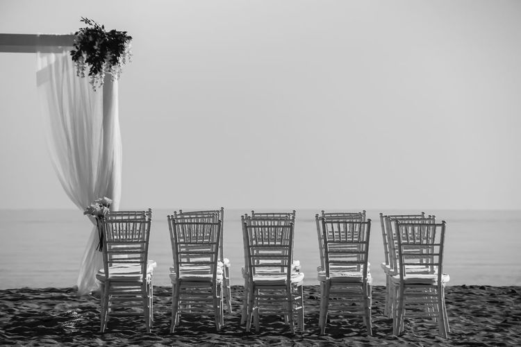 Absence Beach Beauty In Nature Chairs Clear Sky Day Empty Horizon Over Water Mallorca Marriage  No People Ocean Outdoors Plant Sand Scenics Sea Sky Strand Stühle Tranquil Scene Wedding Wedding Photography Weiss White