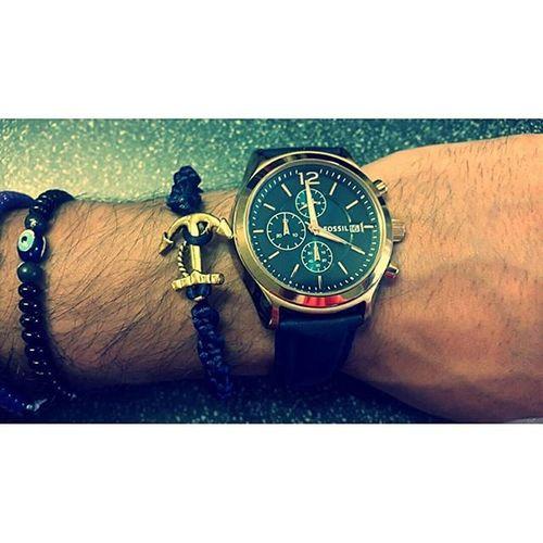 Fossil Fossilwatch Fossilgrant Bijoux Montre Reloj Watch Bracelet Goldencolor Marines Marin Fisherman Ancre Fantaisie Montpellier Mtp BleuMarine Marine Bleu Blue Jewel