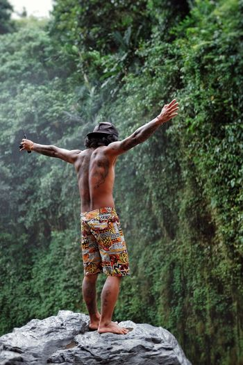Shirtless One Person Rear View Rock - Object Forest Full Length Nature Tree Real People Outdoors Eyem Gallery Nature Travelling Wanderlust Nature Fujifilm_series