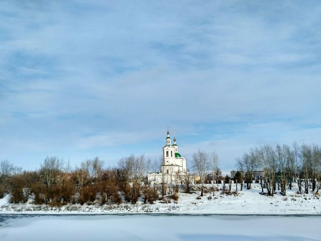 Snow Winter Cold Temperature No People Outdoors Landscape Trees Trees And Sky Nature Frozen Sky Day Cloud - Sky Church Church Architecture Church Dome Religious Architecture Ortodox Church Церковь храмы России храм Religious Buildings Built Structure Architecture Frozen River Shades Of Winter