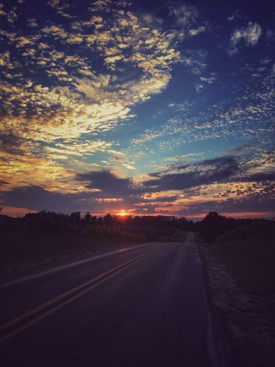 Crazy sunset Best EyeEm Shot Road Sky Cloud - Sky Transportation Sunset Tranquility Direction Tranquil Scene Scenics - Nature Nature Non-urban Scene Empty Road Environment Beauty In Nature No People The Way Forward Landscape Diminishing Perspective Country Land