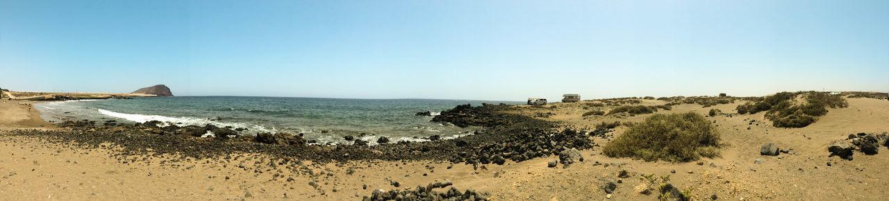 A panoramic view of Tejita beach on Tenerife. Panoramic Sand Sea Tenerife Island Canarias SPAIN Tejita Beach