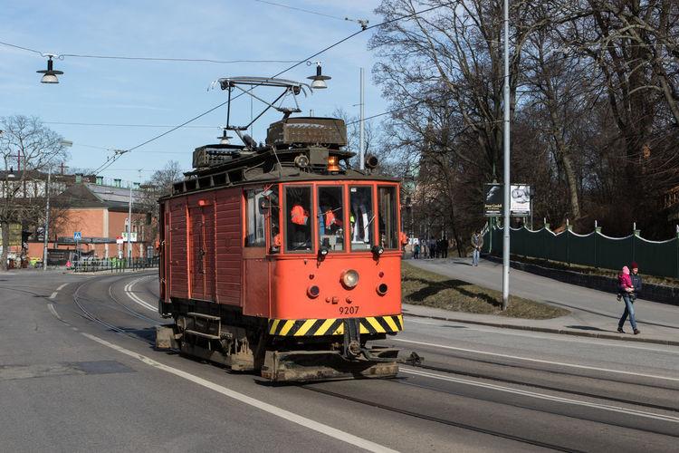 Railroad tracks on road
