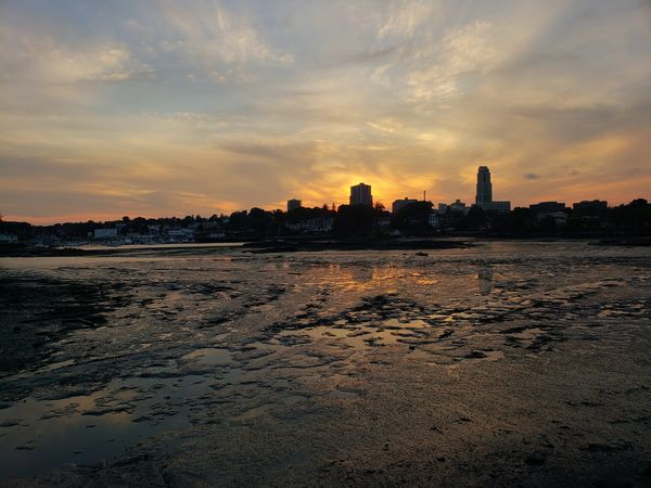Low tide shot of the bay area of New Rochelle. Photo taken one of Five Island's bridges (10/9/2018) City Water Sunset Low Tide Cityscape Sky Cloud - Sky Romantic Sky Orange Color Scenics Calm
