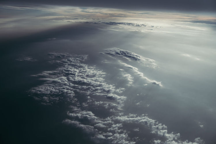 High angle view of cloudscape over sea against sky