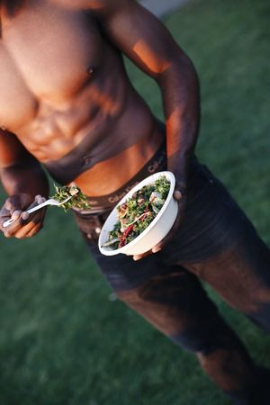 Food And Drink Food Real People One Person Lifestyles Human Hand Holding Healthy Eating High Angle View Bowl Human Body Part Men Drink Freshness Outdoors Eating Close-up Grass Nature
